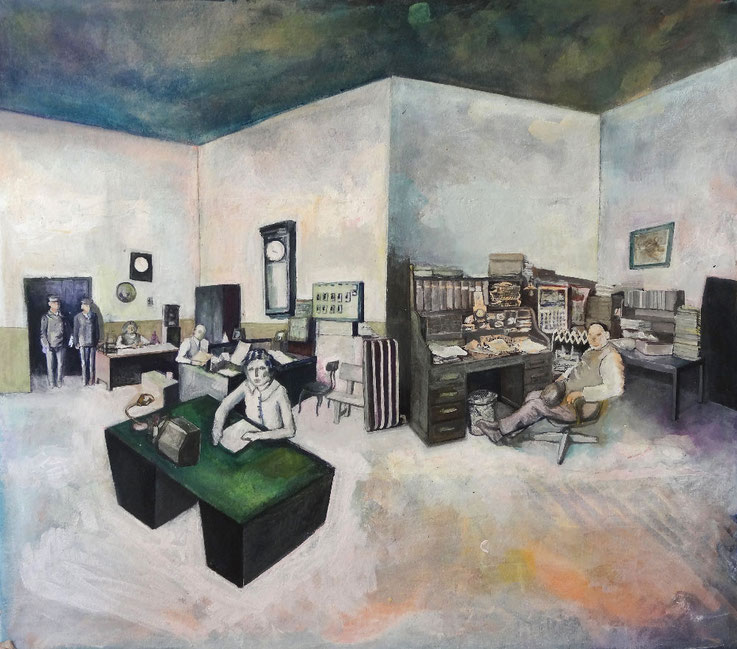 Office , 70 x 80 cm,  2015, collage, acrylic and pigment on cardboard