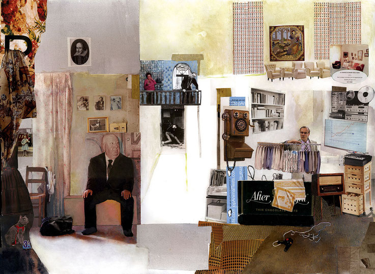 Retirement, 70x100cm, collage, pencil, acrylic, digital print on canvas
