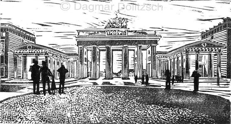 Titel: Brandenburger Tor, Technik: Linolschnitt, Format: 28cm x 15cm, Künstler: Dagmar Dölitzsch