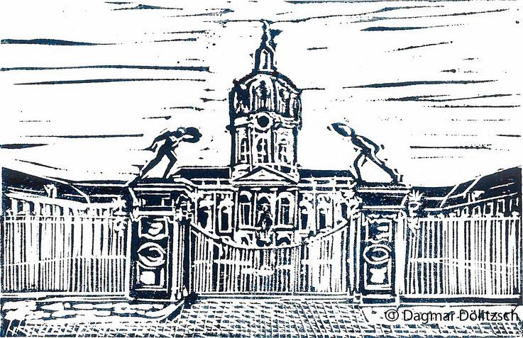 Druckgrafik, Titel: Schloss Charlottenburg, Technik: Linolschnitt, Format: 20cm x 15cm, Künstler: Dagmar Dölitzsch