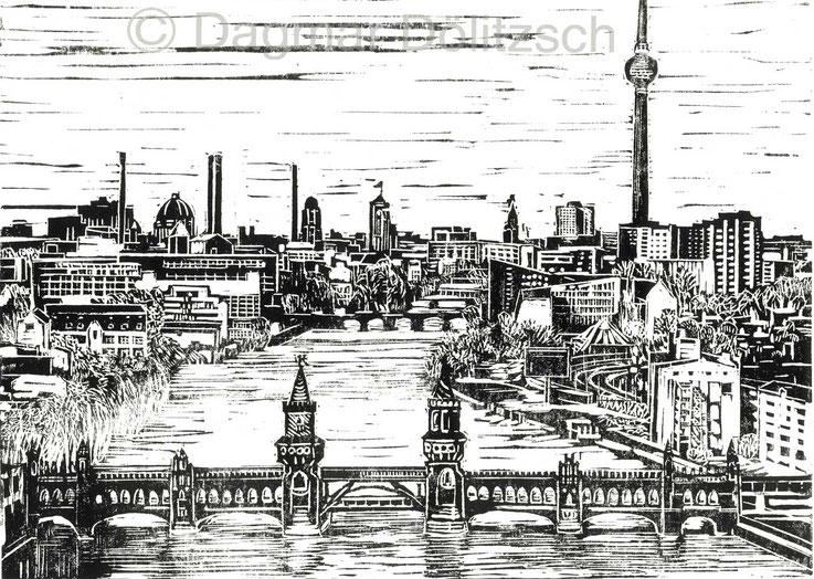 Titel: Berlin mit Oberbaumbrücke, Technik: Linolschnitt, Format: 30cm x 20cm, Entsetehungsjahr: 2017, Künstlerin: Dagmar Dölitzsch