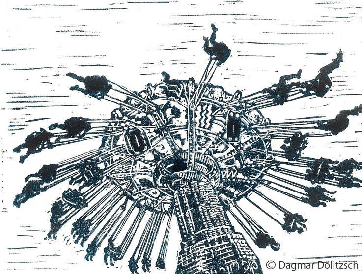Druckgrafik, Titel: Kettenkarussell, Technik: Linolschnitt, Künstler: Dagmar Dölitzsch