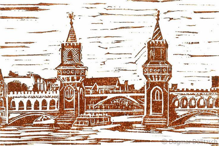 Druckgrafik, Titel: Oberbaumbrücke, Technik: Linolschnitt, Format: 15cm x 20cm, Künstler: Dagmar Dölitzsch