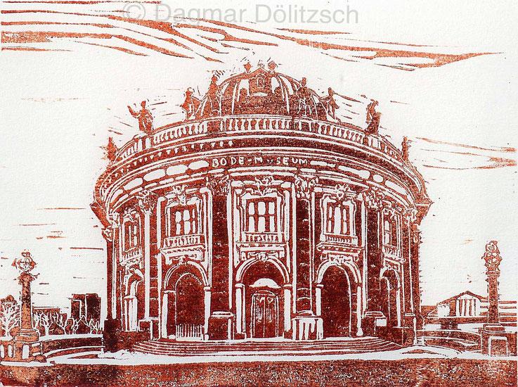 Titel: Bode-Museum, Technik: Linolschnitt: Format: 20cm x 15cm, Künstler: Dagmar Dölitzsch