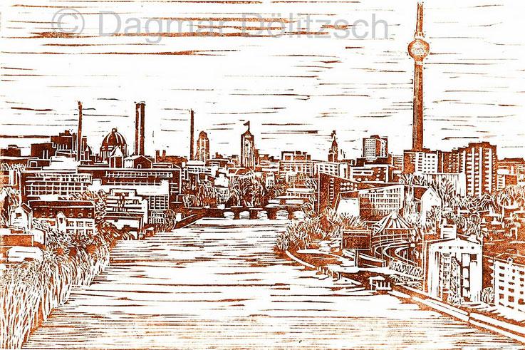 Titel: Blick auf Berlin Mitte, Technik: Linolschnitt, Format: 30cm x 20cm, Künstler: Dagmar Dölitzsch