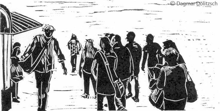 Druckgrafik, Linoldruck, Titel: Spaziergänger, Technik: Linolschnitt, Format: 20cm x 11cm, Künstler: Dagmar Dölitzsch