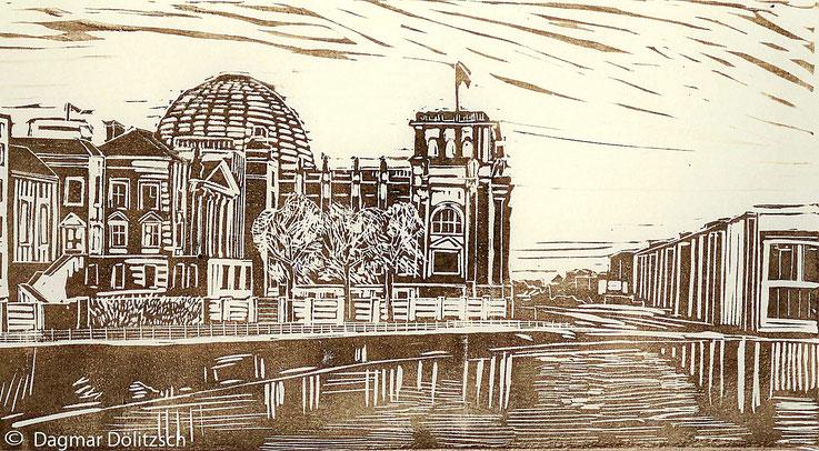 Druckgrafik, Titel: Reichstagsgebäude, Technik: Linolschnitt, Format: 28cm x 15cm, Künstler: Dagmar Dölitzsch