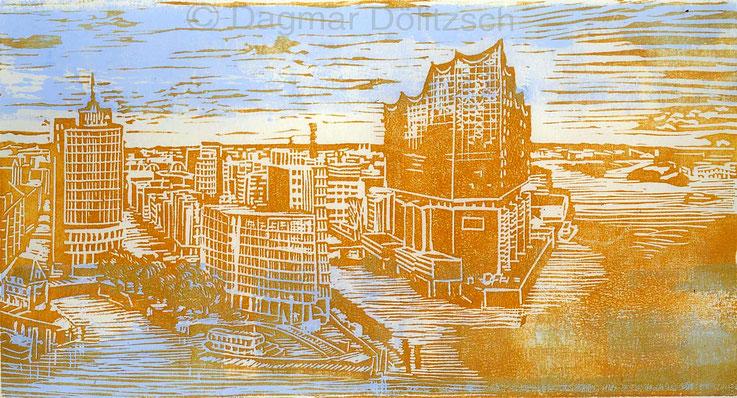 Titel: Elbphilharmonie, Technik: Linolschnitt, Format: 28cmx15cm, Entstehungsjahr: 2018, Künstler: Dagmar Dölitzsch