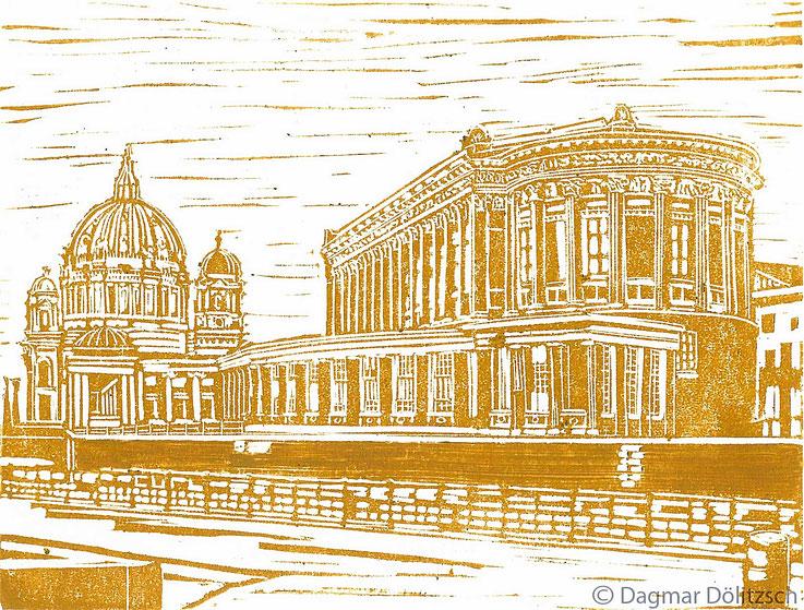 Druckgrafik, Titel: Museumsinsel Berlin, Technik: Linolschnitt, Format 20cm x 15cm, Künstler: Dagmar Dölitzsch
