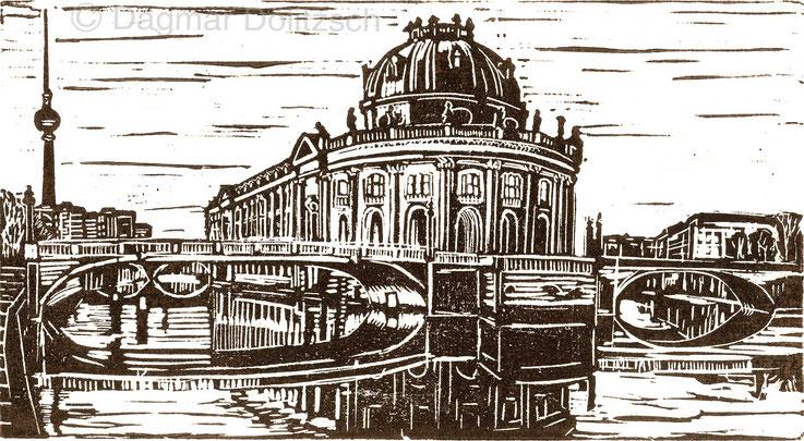 Titel: Bode-Museum mit Monbijoubrücke, Technik: Linolschnitt, Format: 28cm x 15cm, Künstler: Dagmar Dölitzsch