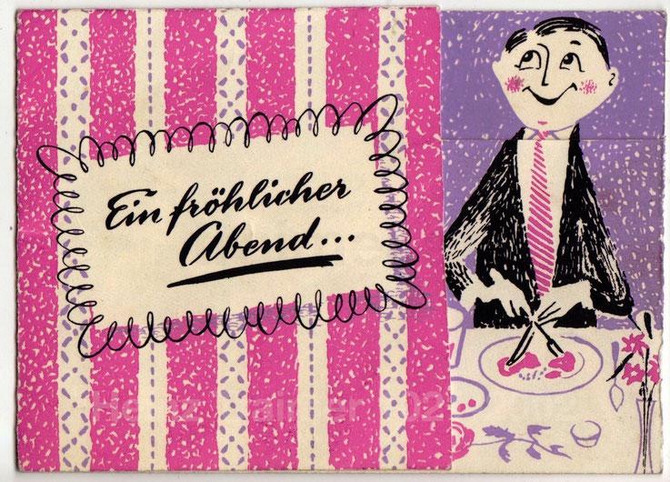 Hotel Erzherzog Rainer (Wiedner Hauptstr. 27-29, 1040 Wien). Werbung für die Rainer-Diele von Heinz Traimer um 1955.