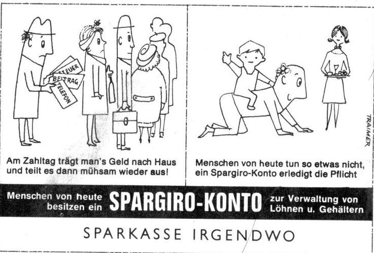 Zeitungs Werbung der Sparkassen Spargiro Konto Inserat Sparkasse vor 1960.