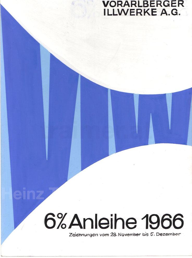 Vorarlberger Illwerke AG. Werbung für die Anleihe 1966 Poster Plakat Werbung 6% Rendite