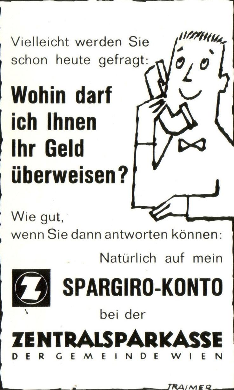 Spargiro Konto Inserat Zentralsparkasse um 1960.