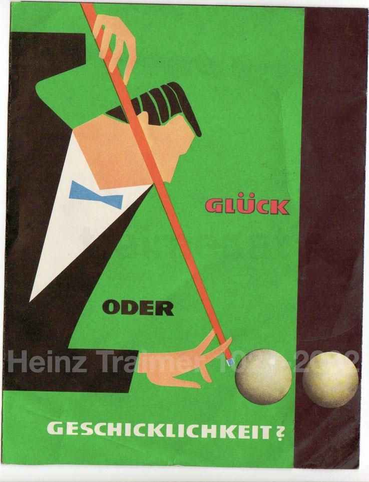 Billardspieler. Prospekt der Sparkasse um 1956.