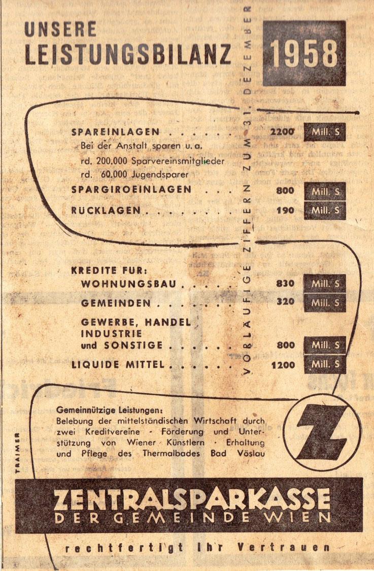 Zentralsparkasse - Unsere Leistungsbilanz 1958.