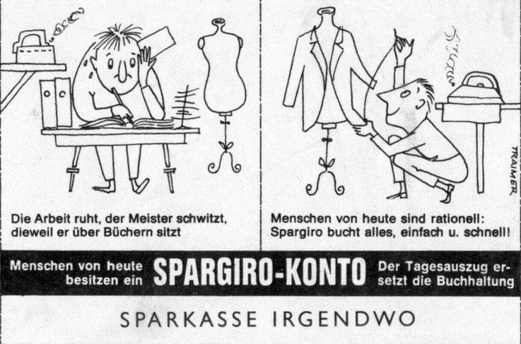 Werbung der Sparkasse in Zeitungen Tageszeitungen und Magazinen in den 1950er und 1960er Jahren