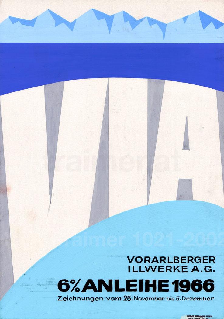 Vorarlberger Illwerke AG. Werbung für die Anleihe 1966 Poster Plakat