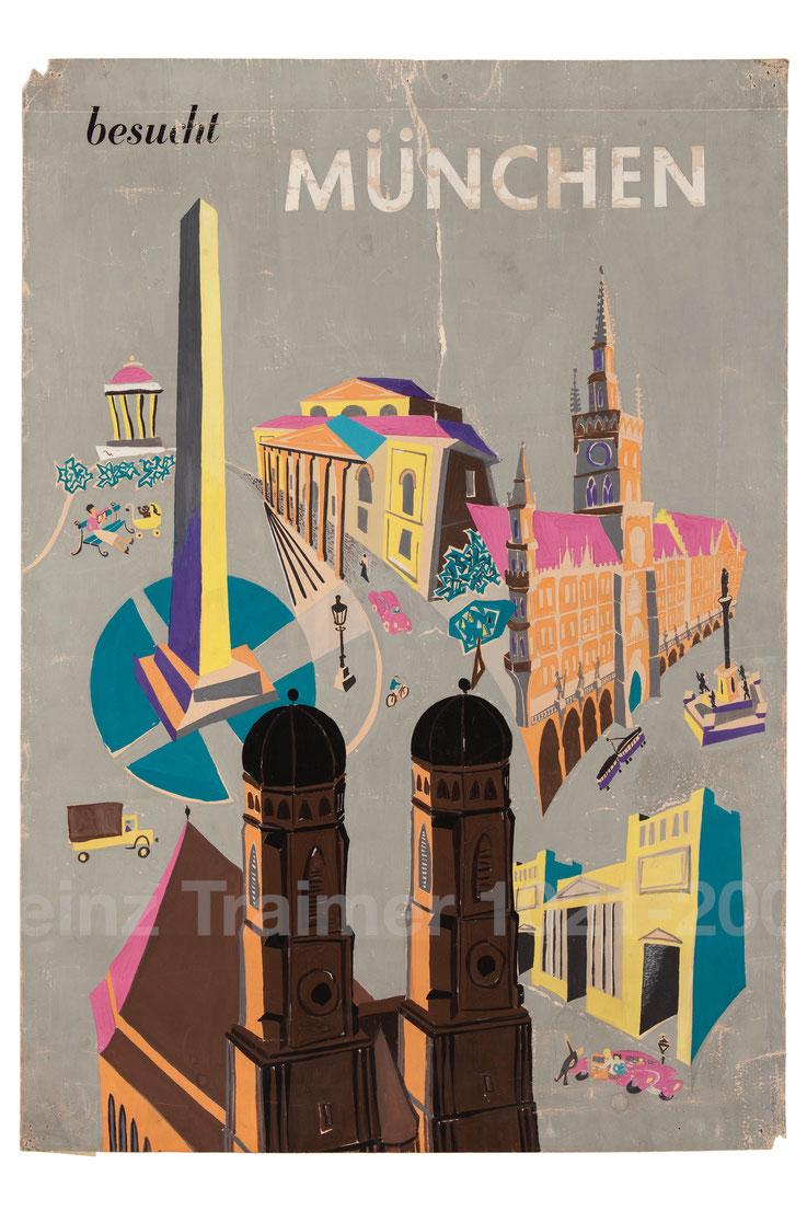 Besucht München Tourismus Plakat 1950er 1952 Tourismuswerbung Muenchen