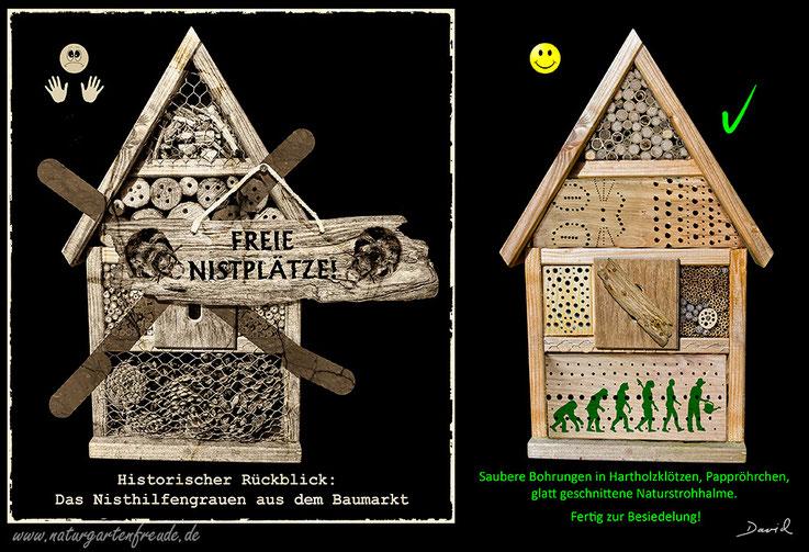 Insektennisthilfe Insektenhotel Nisthilfe Negativbeispiel aus dem Discounter käufliche Nisthilfe  insect nesting aid insect hotel mason bee bug house Neudorff wild bee Wildbiene