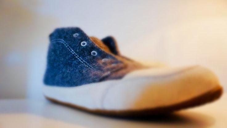 Filz-Leder-Schuh Herren nach Reparatur