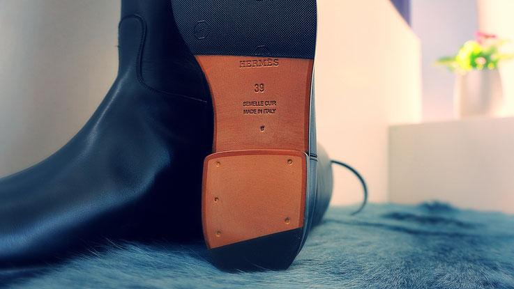 wunderschöner Hermès Damenstiefel Leder schwarz nach Modifikation auf Kundenwunsch