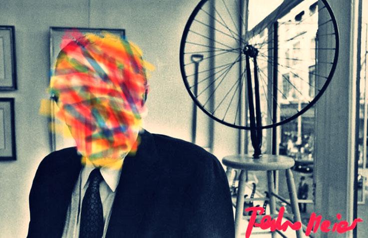 Pedro Meier Marcel Duchamp Übermalung 1, Paraphrase zu Ready-made Fahrrad-Rad NYC – DigitalArt Intervention by © Pedro Meier Multimedia Artist – Kunsthalle Olten Offspace – Atelier Gerhard Meier-Weg Niederbipp und Bangkok Thailand – PhotoArt DADA, SIKART