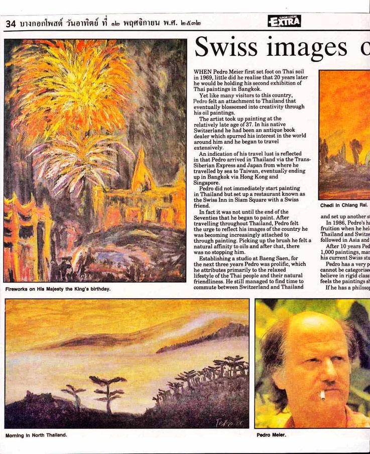 Pedro Meier Art Exhibition »Swiss images of Thailand«, Bangkok Post Newspaper, 12.11.1989 by Roger Crutchley, Nai Lert Park Gallery at Hilton. Gallery Bangkok BACC, Pedro Meier Writer, SIKART Zürich Schriftsteller – www.autorenwelt.de/person/pedro-meier