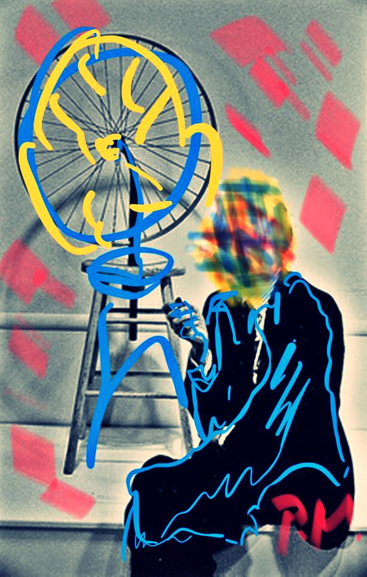 Pedro Meier Paraphrase zu Marcel Duchamp Ready-made Fahrrad-Rad NYC – DigitalArt Intervention by © Pedro Meier Multimedia Artist – Kunsthalle Olten Offspace – Atelier Gerhard Meier-Weg Niederbipp und Bangkok Thailand – PhotoArt DADA VISARTE, SIKART Zürich