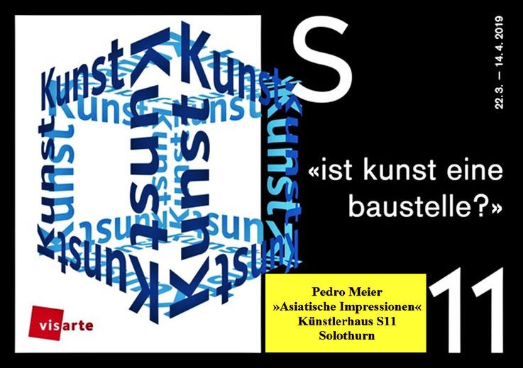 Pedro Meier – Künstlerhaus S11 Solothurn – Asiatische Impressionen, ein Zyklus – Monotypien auf selbst geschöpften Papieren aus der Rinde vom Maulbeerbaum – »ist Kunst eine Baustelle?« Visarte Solothurn – Einführung Martin Rohde, 22. März – 14. April 2019