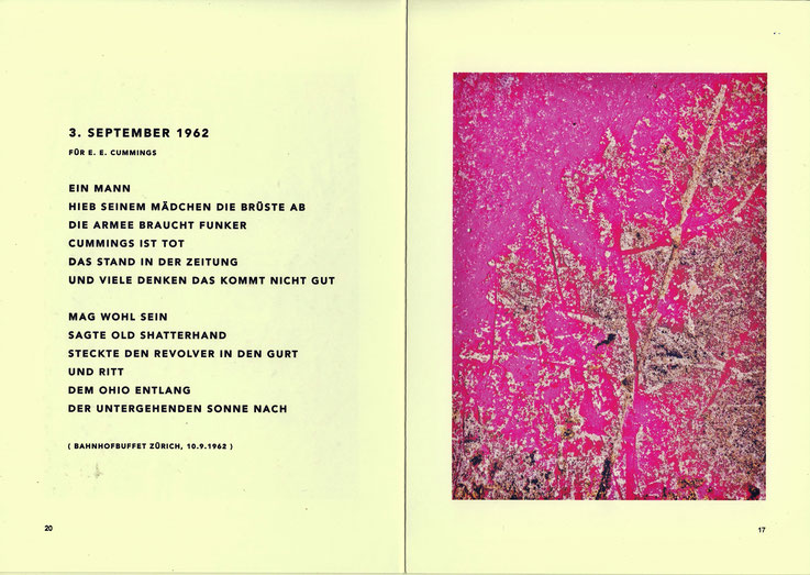 Pedro Meier – Gedicht: 3. September 1962, für E. E. Cummings, aus Lyrikbuch PARALLELWELTEN – Wasteland Factory oder Der Garten der Lüste –In Search of Lost Time, Mauerspuren. AMRAIN BOOKS Literatur Verlag. ISBN 978-3-9525246-0-2 – 2020, Broschur sFr 19.90