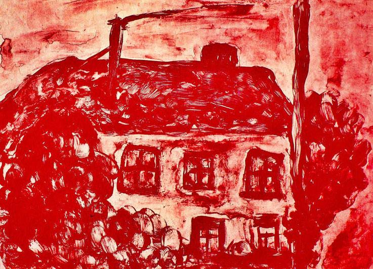Geburtshaus von Gerhard Meier – Niederbipp alias Amrain – Lithographie in Sepia von Pedro Meier Multimedia Artist (Sohn von Gerhard Meier) – 1987 – 22x30 cm – (Schweizerisches Literaturarchiv SLA – Schweizerische Nationalphonothek, Bern) – © Pedro Meier