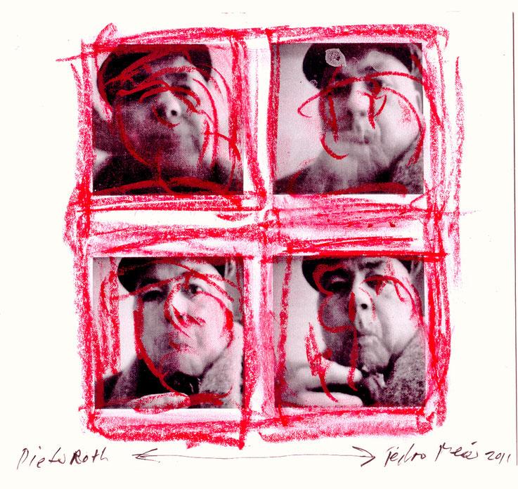 Pedro Meier Artist übermalt Dieter Roth – Dieter Roth Adaption über Foto 2016 – Foto © Pedro Meier/ProLitteris Multimedia Artist – Atelier: Gerhard Meier Weg Niederbipp – Olten – Bangkok