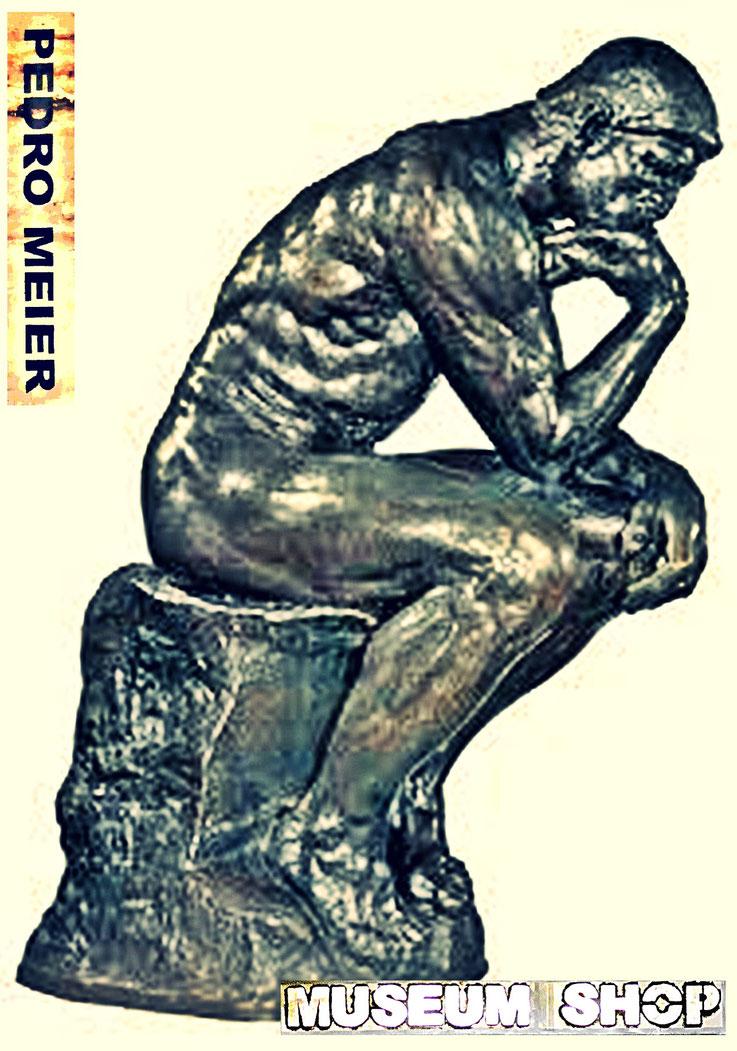 Pedro Meier: Auguste Rodin, Der Denker, Replica Bronze. Ausstellung »MuseumsShop & Wunderkammer«. Eine Persiflage / Parodie auf den kommerzialisierten Museumsbetrieb. Installation Pedro Meier Multimedia Artist Attisholz Niederbipp, Bangkok-BACC. SIKART ZH