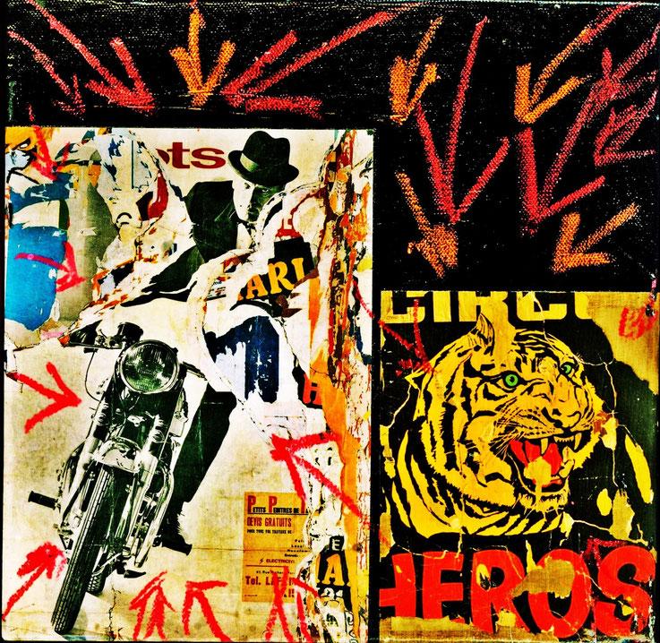 Pedro Meier Galerie 16b Zürich – »Motorradfahrer – HEROS« – Öl, Collage, Plakatabriss, Décollage – Papier auf Leinwand – Art Work by © Pedro Meier Multimedia Artist – KUNSTRAUSCH – beim Carparkplatz Sihlquai, HB Zürich – Kunst Zürich Art – Visarte, SIKART