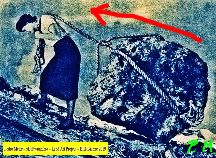 Pedro Meier Sisyphos, Sisyphus – Entwurf zu »Luftwurzeln« Land Art Biel-Bienne 2019. Bözinger Wald. Landschaftsarchitektur, Earth art, Urban Art Brut, Steinkunst © Pedro Meier Multimedia Künstler Niederbipp. Bangkok BACC. Visarte Schweiz. SIKART Zürich