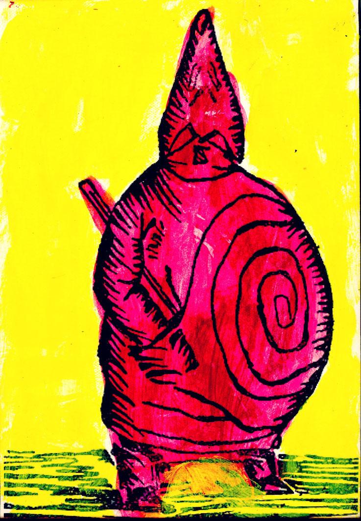 Pedro Meier Galerie 16b Zürich – König Ubu nach Alfred Jarry, DADA-Vorläufer – Papier auf Leinwand – Art Work by © Pedro Meier Multimedia Artist – KUNSTRAUSCH, Ausstellungsstrasse 16 beim Carparkplatz Sihlquai, HB Zürich – Kunst Zürich Art, Visarte SIKART