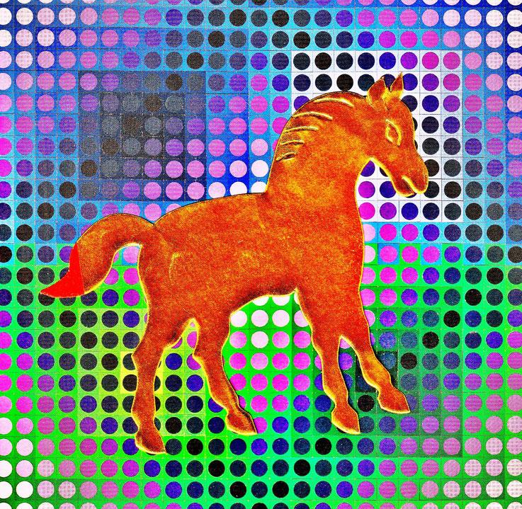 Pedro Meier – »A golden horse in a painting of Victor Vasarely« – Mixed Media artwork by Pedro Meier – 2017 – Photo © Pedro Meier Multimedia Artist / ProLitteris – Gerhard Meier Weg – Atelier – Niederbipp – Olten – Bangkok