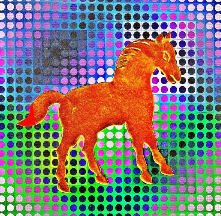 Pedro Meier DigitalArt – Victor Vasarely »A golden horse in a painting«. 2017 Artwork by Pedro Meier © Multimedia Artist MoMA – Visual Art Museum Bangkok – FLUXUS – DADA – ComputerArt – SIKART Zürich. Niederbipp Bern bei Solothurn Oberaargau Switzerland