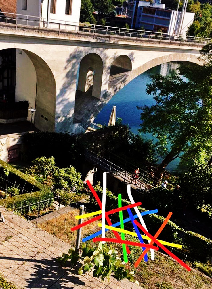 Pedro Meier – René Walker Skizze zu »Mikado-Skulptur« Garten Hotel Stadthof Bremgarten, Obertor, Reussbrücke – Dietikon - Wohlen Bahn – Katzenturm – Pedro Meier Atelier: Gerhard Meier-Weg Niederbipp / Bangkok Thailand / Kunsthalle Olten – ArtWalk, SIKART