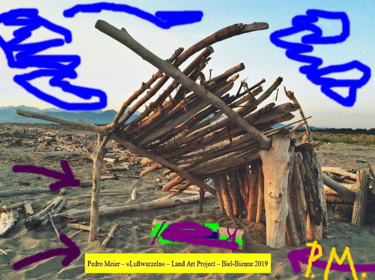 Pedro Meier Design for a ready-made sculpture in the desert – Schwemmland Skizze. Land Art Biel-Bienne 2019 Bözinger Wald Projekt »Luftwurzeln«, Landschaftsarchitektur, Earth art, Urban Art Brut, Steinkunst © Pedro Meier Multimedia Künstler. SIKART Zürich