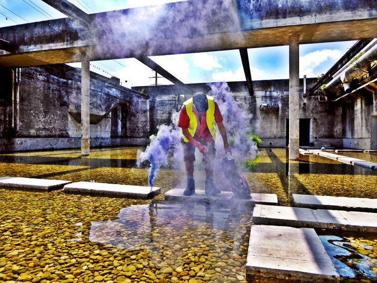Pedro Meier Blue Colour Smoke Bomb Action »Pink Flamingo« Rauch Performance, Campus Attisholz Areal Uferpark Solothurn, Kantine 1881 © by Pedro Meier Multimedia Artist Niederbipp. Kunsthalle Olten. Bangkok Art Club BACC, Visarte, Lexikon SIKART Zürich