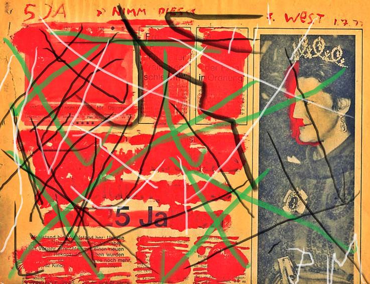 Pedro Meier übermalt »Franz West Übermalungen« – Gouache on newspaper – Mischtechnik, Collage auf Papier – Arbeit Nr. 10 – 2017 – Photo & Art Work © Pedro Meier Multimedia Artist / ProLitteris – Gerhard Meier Weg – Atelier: Niederbipp – Olten – Bangkok