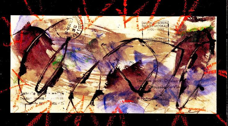 Pedro Meier Mail Art. Briefumschlag übermalt. Stempel »Berlin-Moskau 1950«. Mischtechnik 2015. Photo © Pedro Meier Multimedia Artist. Atelier: Gerhard Meier-Weg, Niederbipp, Kunsthalle Olten Offspace, Bangkok Art-Group Thailand. VISARTE – SIKART Zürich