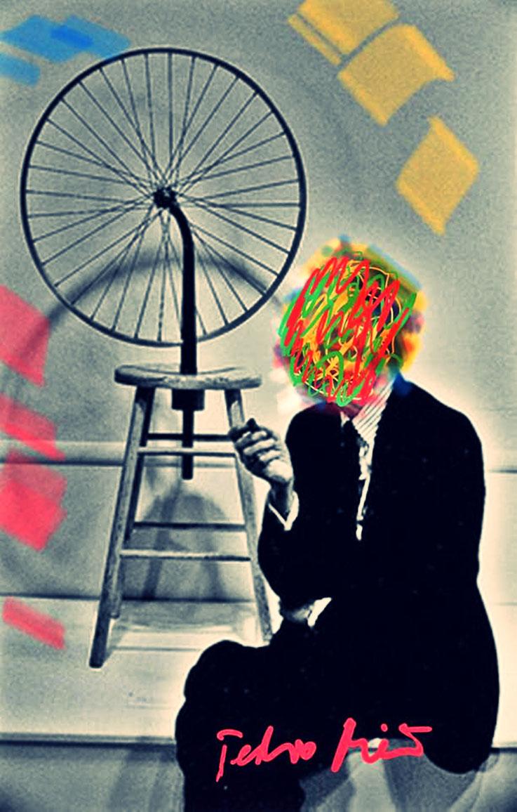Pedro Meier Marcel Duchamp Übermalung No.4, Paraphrase zu Readymade Fahrrad-Rad NYC – DigitalArt Intervention by © Pedro Meier Multimedia Artist – Kunsthalle Olten Offspace – Atelier Gerhard Meier-Weg Niederbipp und Bangkok Thailand.PhotoArt DADA, SIKART