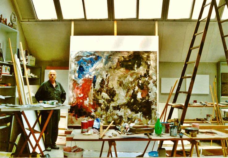 Pedro Meier - Grossformatige Arbeit 1998 – Öl Lack auf Leinwand 200 x 200 cm – Fabrik-Atelier Studio Roggwil-Wynau – Shedhalle – Gugelmann-Areal (abgebrannt 2001) Schweiz« – Photo © Pedro Meier Multimedia Artist / ProLitteris – Niederbipp – Bangkok