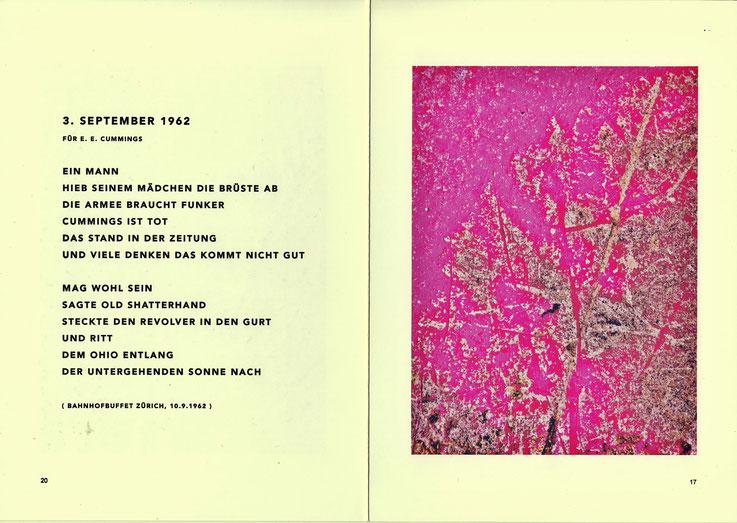 Pedro Meier – 3. September 1962 – Gedicht aus PARALLELWELTEN – Wasteland Factory oder Der Garten der Lüste. Rechte Seite: Mauerspuren – In Search of Lost Time Nr. 12 – AMRAIN BOOKS Literatur Verlag – ISBN 978-3-9525246-0-2 – Ausstellung Galerie Löiegruebe