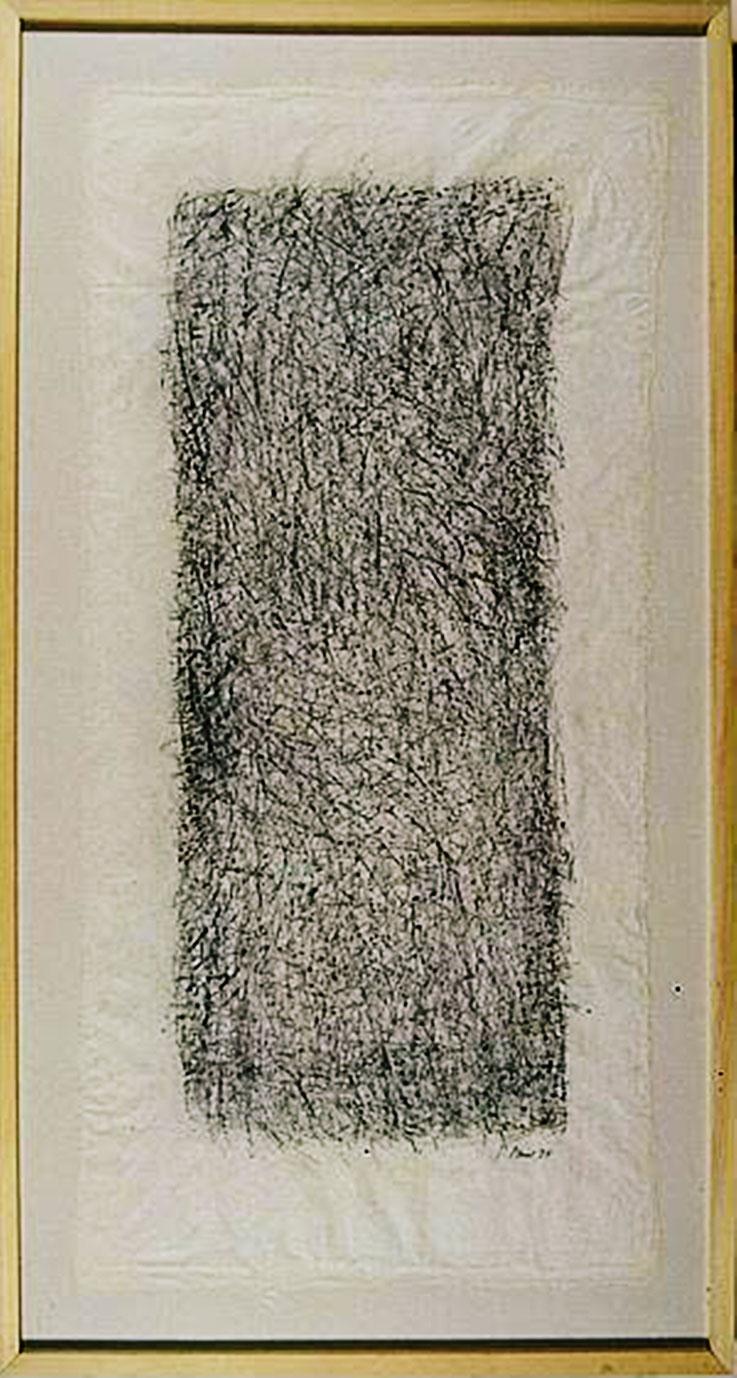 Pedro Meier – Solothurn Kuratorium – Kunstinventar SOKULTUR – Ankauf »Mikrogramme (Nr. 57)« (nach Robert Walser) von © Pedro Meier Multimedia Artist – Graphit Kohle Zeichnung auf selbst geschöpftem Papier vom Maulbeerbaum – 1994 – 130x62 cm. SIKART Zürich