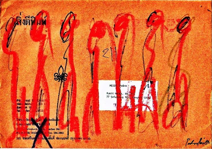 Pedro Meier Mail Art. Briefumschlag mit Figuren. Adressiert an Pedro Meier, Sala Daeng Road, Bangkok Thailand. 1992. Photo © Pedro Meier Multimedia Artist. Atelier: Gerhard Meier-Weg, Niederbipp, Kunsthalle Olten Offspace, Bangkok Art-Group. SIKART Zürich