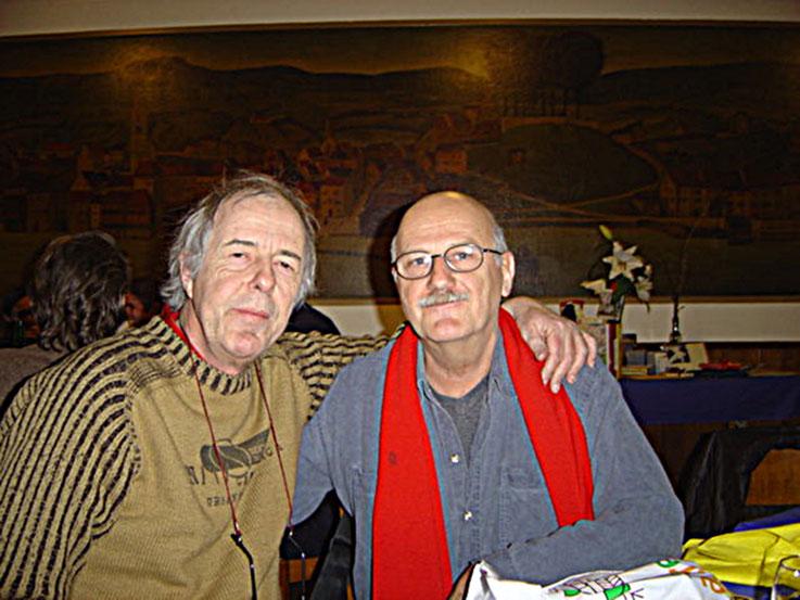 Jürg Laederach (Schriftsteller - Italo-Svevo-Preis) und Pedro Meier - Multimedia Artist – Literaturhaus Zürich 2004 – Foto © Pedro Meier/ProLitteris